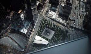 A reflecting pool at the 9/11 memorial site