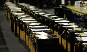 Ballot boxes stand at a count centre in Dublin AFP PHOTO /  Paul FaithPAUL FAITH/AFP/Getty Images