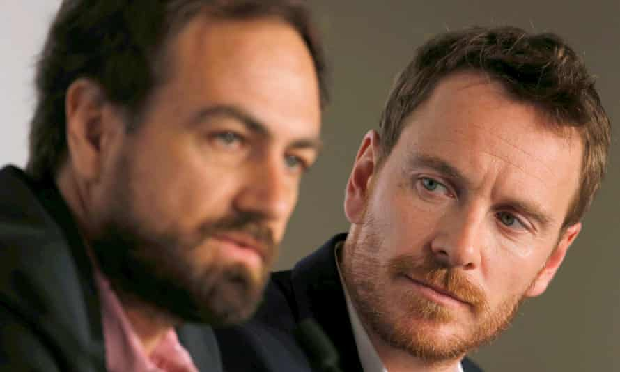 King for a day ... Michael Fassbender listens to Justin Kurzel at the Macbeth press conference