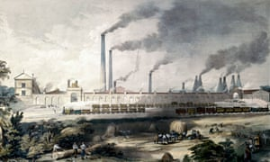 Lithograph steam trains at work outside the Cyclops steel works