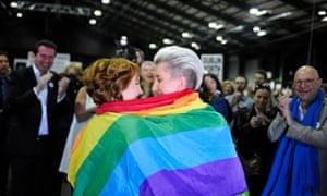 Monnine Griffith (left) and Clodagh Robinson celebrate in Dublin after early results suggest a majority of Irish voters have approved same-sex marriage.