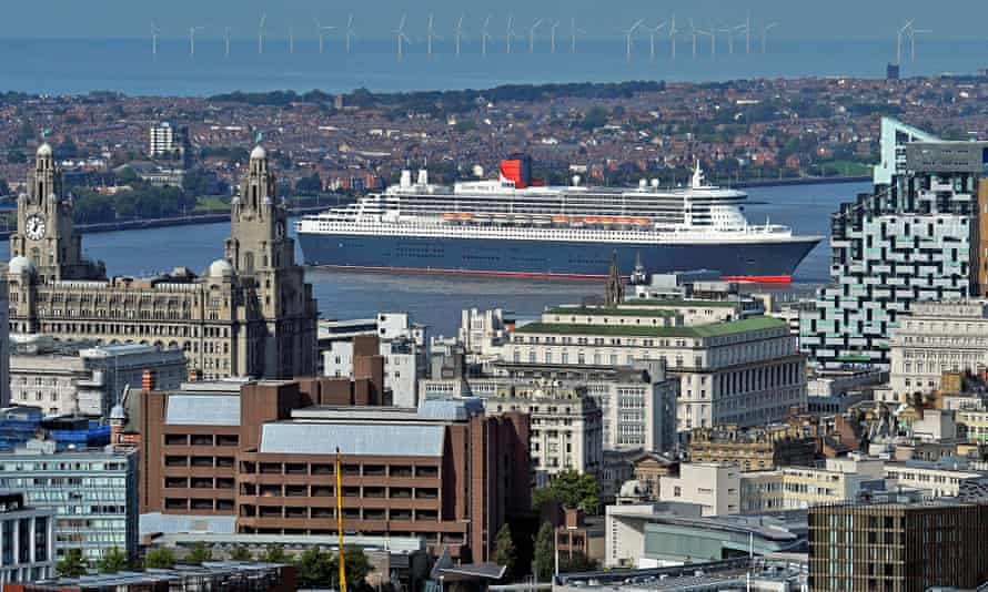 The Cunard liner Queen Mary 2 in Liverpool.