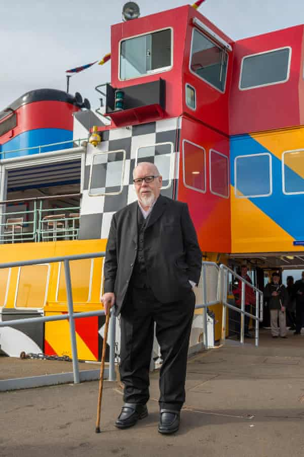Sir Peter Blake launches the newly painted Mersey ferry at Liverpool pierhead landing stage.