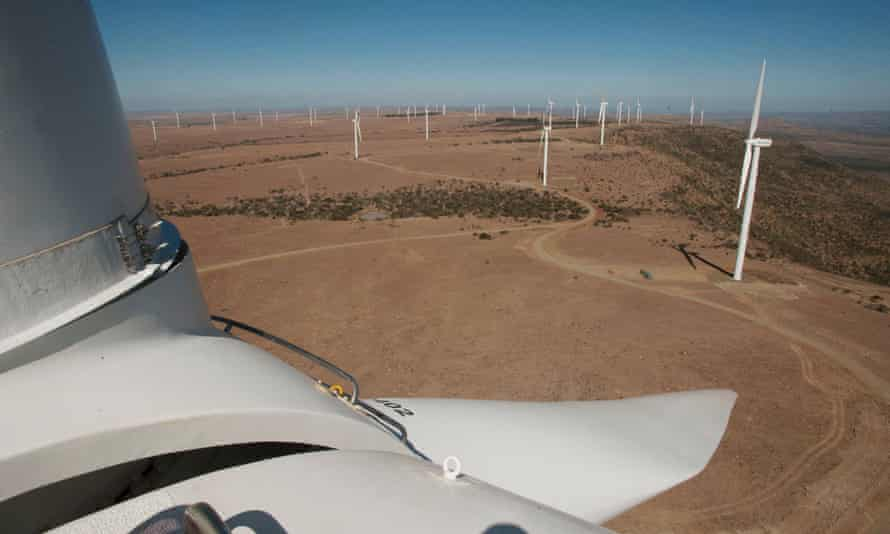 View from the top of the wind nacelle. The Cookhouse Wind Farm in the Eastern Cape of the country is the biggest in Africa.  It was built in only 11 months, and has 66 turbines generating 138 Mw of clean power. Renewable energy in South Africa now accounts for about 1/10th of the country's electricity supply after only three years of implementation.