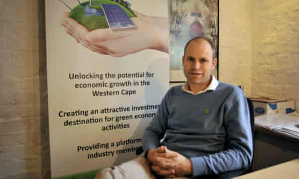 Greencape CEO Evan Rice in his office in Cape Town.  Renewable energy in South Africa now accounts for about 1/10th of the country's electricity supply after only three years of implementation.