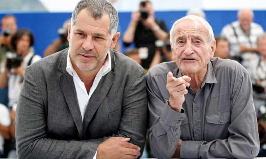 Luc Jacquet and Claude Lorius at the photocall for Ice and the Sky.