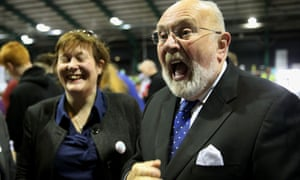 Senator David Norris arrives at the RDS as counting of votes in the referendums on same-sex marriage and presidential-age get under way in Dublin