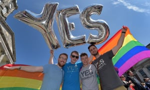 Yes supporters gather in Dublin Castle square as the referendum on same-sex marriage appears to have been approved by Irish voters.