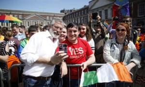 Sinn Fein president Gerry Adams meets yes supporters at Dublin Castle.