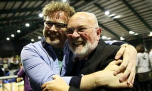 Senator David Norris (right) is welcomed by Andrew Hyland of YES Equality at the count in Dublin earlier today.
