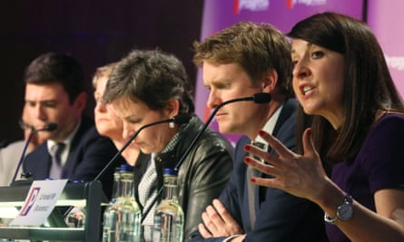 New face of Labour? Prospective leaders Andy Burnham and Yvette Cooper, left, and Liz Kendall, right, alongside Mary Creagh and Tristram Hunt.