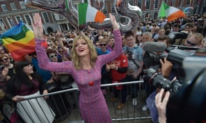 Drag queen and Yes campaigner Panti Bliss celebrates in Dublin Castle square.
