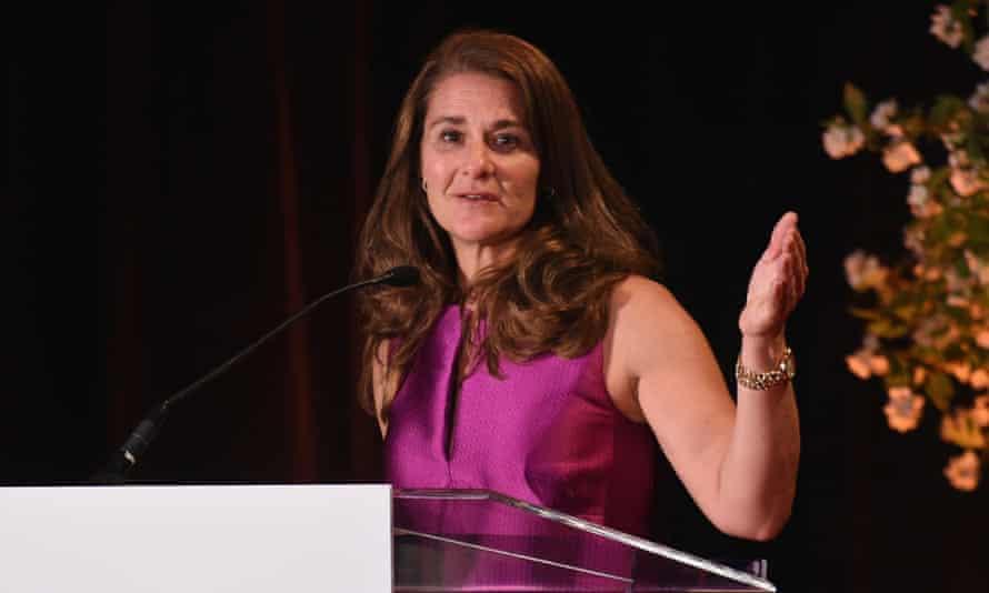 Melinda Gates speaking at the New York Public Library