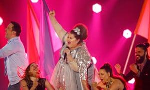 "Bojana Stamenov for  Serbia performs the song ""Beauty Never Lies"""