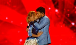 Singers Monika Linkyte and Vaidas Baumila for Lithuania perform the song 'This Time'