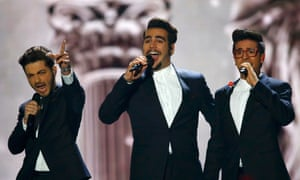 The band Il Volo representing Italy performs the song 'Grande Amore'