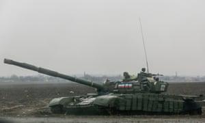 A pro-Russian separatist tank