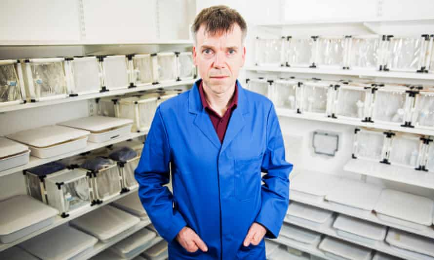 Dr Luke Alphey surrounded by boxes of Oxitec mosquitoes.