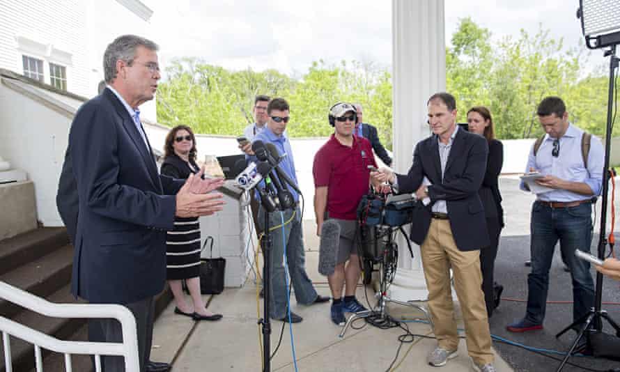 Former Florida Governor Jeb Bush holds a press conference