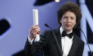 Director Michel Franco speaks after he was presented the Best Screenplay award for the film Chronic during the awards ceremony at the 68th international film festival, Cannes, southern France, Sunday, May 24, 2015. (AP Photo/Lionel Cironneau).
