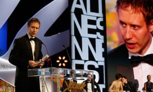 Hungarian director Laszlo Nemes talks on stage after being awarded with the Grand Jury Prize during the closing ceremony of the 68th Cannes Film Festival in Cannes, southeastern France, on May 24, 2015.    AFP PHOTO / VALERY HACHEVALERY HACHE/AFP/Getty Images.