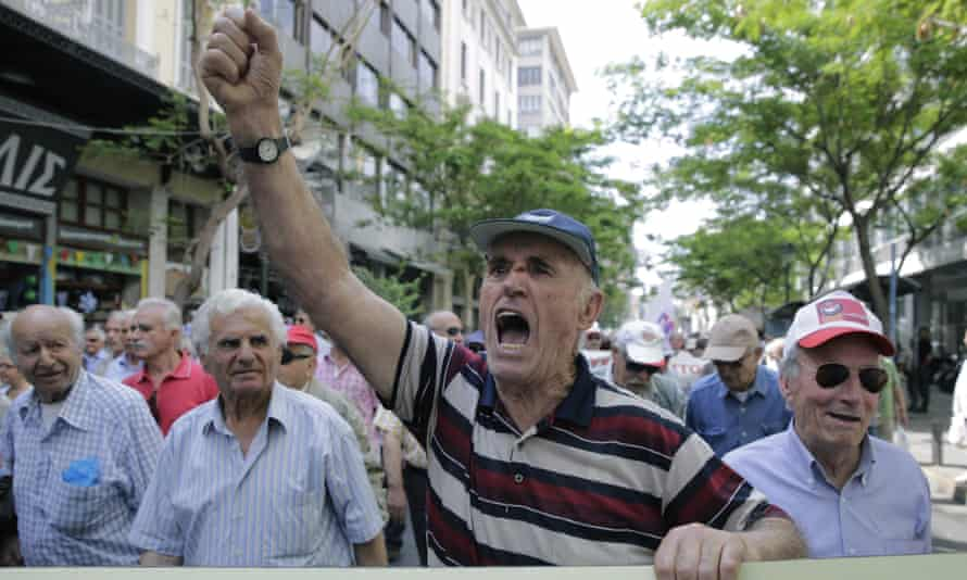 Pensioners chant anti-austerity slogans during a protest in central Athens. Greece has spent the last four months wrangling with Brussels and the IMF following the election of the anti-austerity Syriza party in January.