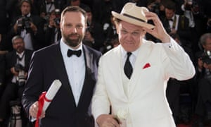 Director Yorgos Lanthimos (left), jury prize award winner for The Lobster with actor John C Reilly.