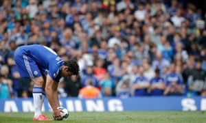 Eight minutes after coming on for Drogba, Diego Costa has a chance to equalise from the spot after Juan Cuadrado is downed by John O'Shea. Vito Mannone guesses right, but Costa's spot kick is accurate enough to find the net