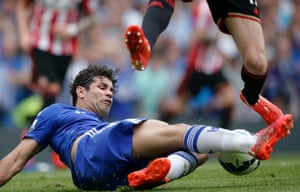 Diego Costa tackles as Chelsea attempt to regain the lead
