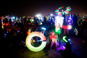No sleep for free souls: the Midburn festival comes alive during the night as attendees play with lights during performance art presentations and dance parties.