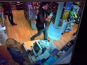 CCTV image showing Jed Allen at  WHSmith in Oxford railway station just before 6pm on Saturday.