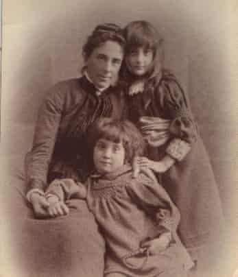 Julie Myerson story. Margery Wilson, right, with her mother Rosa and brother Hugh, in 1890. Margery died in 1957.