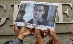Protesters supporting Edward Snowden, a contractor at the NSA, outside the US Consulate in Hong Kong.