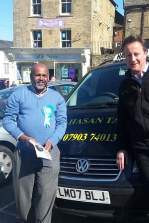 Taxi driver Tahirul Hasan with David Cameron in Chipping Norton.