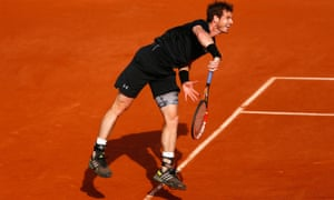 Andy Murray lets a serve fly on his way to winning the first set against Facundo Arguello of Argentina.