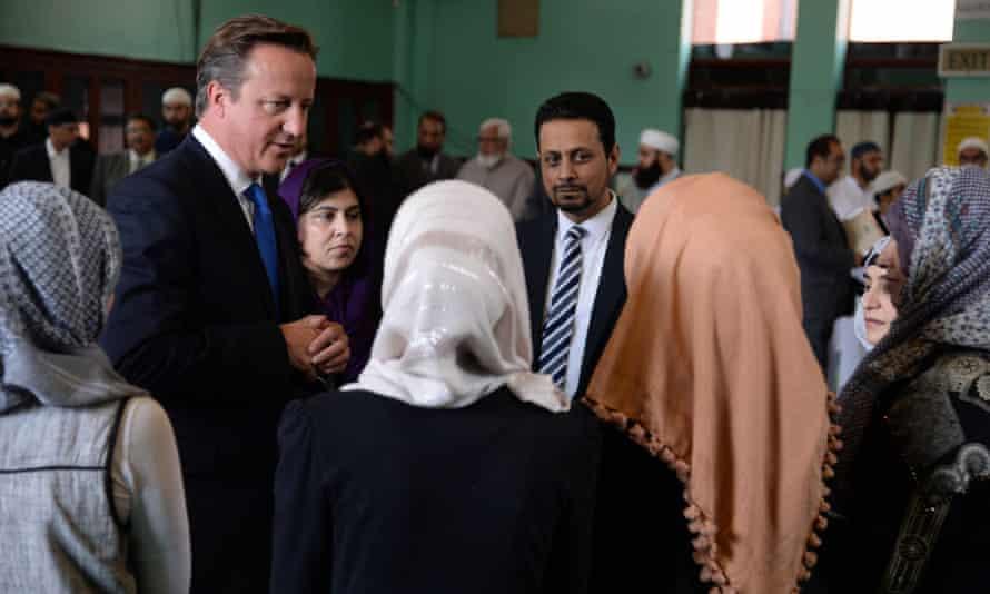 David Cameron in a mosque