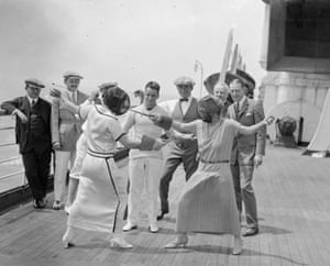 <strong>July 1923</strong> Two female passengers on the RMS Berengaria take part in a ladies' fencing match.