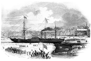 <strong> January 1847</strong> Cunard's first transatlantic liner Britannia leaves Boston, Massachusetts, in 1847. It made its first transatlantic voyage in 1840, travelling from Halifax, Nova Scotia, to Liverpool in 12 days and 10 hours. Charles Dickens sailed to America on the Britannia in 1842, but suffered badly from seasickness and decided to make the return voyage on board a sailing vessel