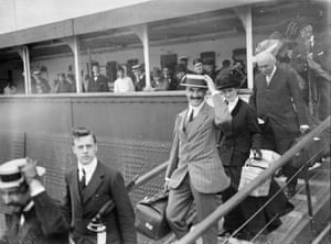 <strong>August 1909</strong> Passengers disembarking from the Cunard liner SS Mauretania onto a tender at Fishguard, Pembroke.