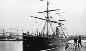 <strong>January 1895 </strong>One of the Cunard Line's steamships, the SS Parthia, at Liverpool Docks.