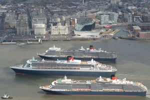 <strong>25 May 2015 </strong> Queen Mary 2, Queen Victoria and Queen Elizabeth meet in the Mersey, Liverpool for a gathering in front of the Three Graces, watched by thousands of people.