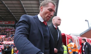 Liverpool manager Brendan Rodgers during the 6-1 hammering at Stoke City.