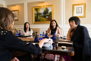 Cheung meets Sophie Delafontaine, Longchamp artistic director (2nd from right) and Alexa Chung (left) at the Ritz Carlton.