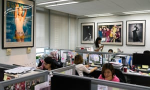 Staff at work in the Vogue China office in Beijing.