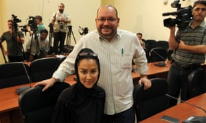 Jason Rezaian and his Iranian wife Yeganeh Salehi  during a press conference in Tehran in September 2013.