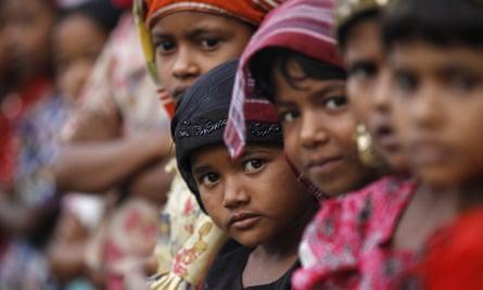 Rohingya Muslim children at a refugee camp outside Sittwe, Burma, in May 2015.