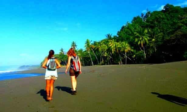 Volunteers exploring Costa Rica's coastline.