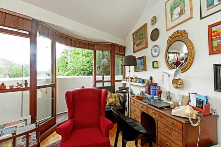 The living room of the home on Gillespie Road has a balcony