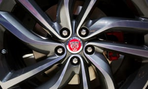The Jaguar logo displayed on the hubcap of an XF Sport.