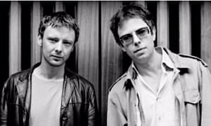 Old photo of Ian McCulloch and John Simm wearing coats